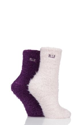 Ladies 2 Pair Elle Teddy Feather Bed Socks Heritage Purple 4-8 Ladies