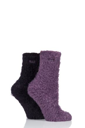 bb6f1932a4bb Ladies 2 Pair Elle Teddy Feather Bed Socks. Purple. Green. Red