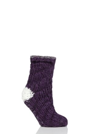 Ladies 1 Pair Elle Soft Hand Knitted Slipper Socks Blackbird 4-8 Ladies