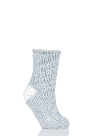 Ladies 1 Pair Elle Soft Hand Knitted Slipper Socks