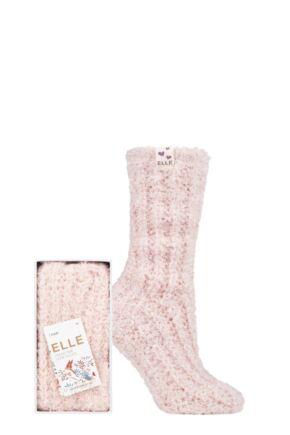 Ladies 1 Pair Elle Feather Slipper Gift Boxed Socks
