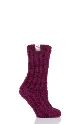 Ladies 1 Pair Elle Feather Slipper Socks Winter Berry 4-8 Ladies