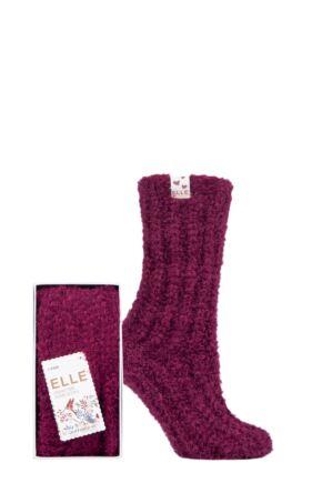 Ladies 1 Pair Elle Feather Slipper Gift Boxed Socks Winter Berry 4-8 Ladies