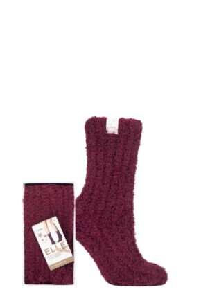 Ladies 1 Pair Elle Feather Slipper Gift Boxed Socks Dark Ruby 4-8 Ladies