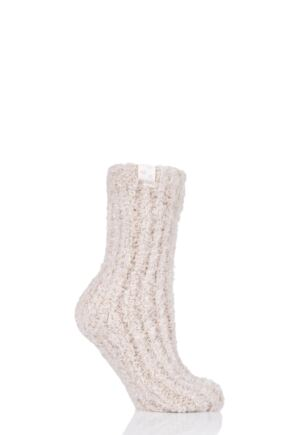 Ladies 1 Pair Elle Feather Slipper Socks Oatmeal 4-8 Ladies