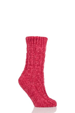 Ladies 1 Pair Elle Chenille Cable Slouch Socks