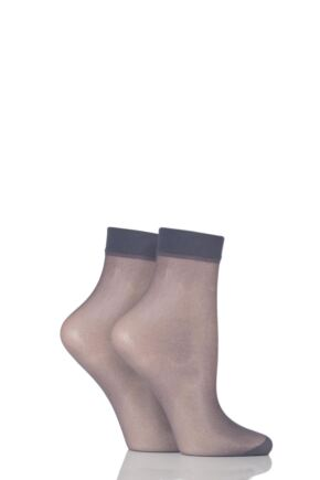 Ladies 2 Pair Elle 15 Denier Ankle Highs With Comfort Cuff French Grey