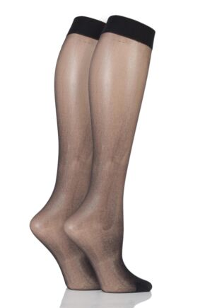 Ladies 2 Pair Elle 15 Denier Knee Highs With Comfort Cuff Black