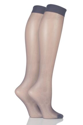 Ladies 2 Pair Elle 15 Denier Knee Highs With Comfort Cuff French Grey