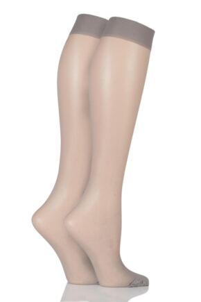 Ladies 2 Pair Elle 15 Denier Knee Highs With Comfort Cuff Grey Smoke