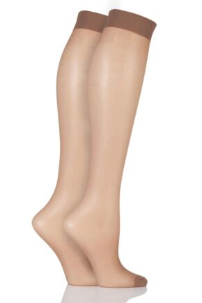 Ladies 2 Pair Elle 15 Denier Knee Highs With Comfort Cuff