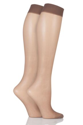 Ladies 2 Pair Elle 15 Denier Knee Highs With Comfort Cuff