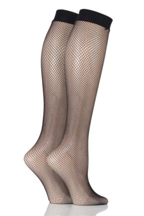 Ladies 2 Pair Elle Fishnet Knee Highs