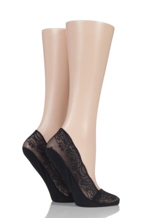 Ladies 2 Pair Elle Lace Shoe Liner Socks with Grip Black 4-8