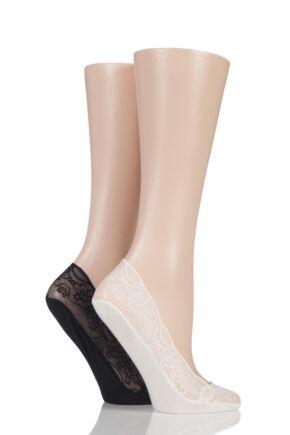Ladies 2 Pair Elle Lace Shoe Liner Socks with Grip