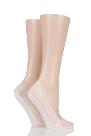 Ladies 2 Pair Elle Lace Shoe Liner Socks with Grip Pink / Cream 4-8