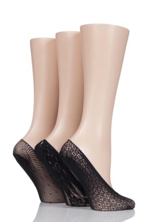 Ladies 3 Pair Elle Patterned Fishnet Shoe Liner Socks