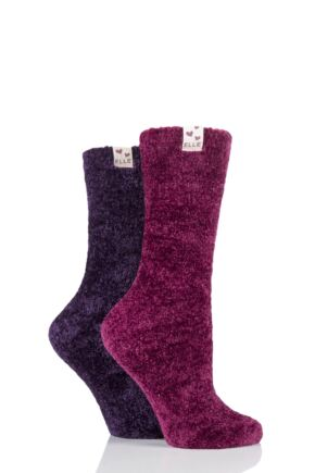 Ladies 2 Pair Elle Chenille Leisure Socks