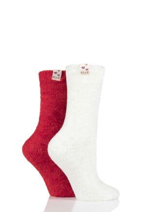 Ladies 2 Pair Elle Chenille Leisure Socks Cranberry 4-8 Ladies