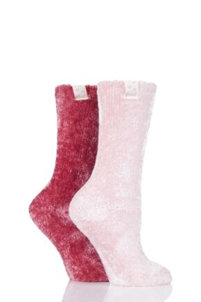 Ladies 2 Pair Elle Chenille Leisure Socks Love Potion 4-8 Ladies
