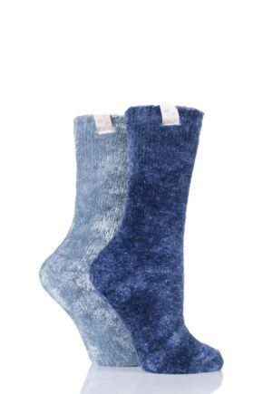 Ladies 2 Pair Elle Chenille Leisure Socks