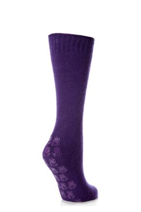 Ladies 1 Pair Elle Supersoft Home Socks with Non-Slip Sole Violet Crisp