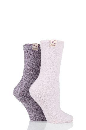 Ladies 2 Pair Elle Two Tone Soft and Cosy Bed Socks Pink Pearl 4-8 Ladies
