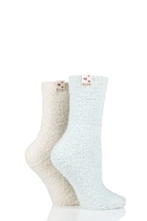 Ladies 2 Pair Elle Two Tone Soft and Cosy Bed Socks Seabreeze 4-8 Ladies