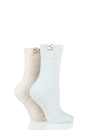 Ladies 2 Pair Elle Two Tone Soft and Cosy Bed Socks Seabreeze 4-8 Ladies