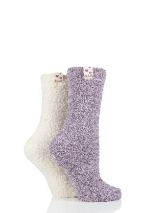Ladies 2 Pair Elle Two Tone Soft and Cosy Bed Socks Winter Berry 4-8 Ladies