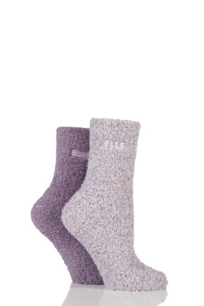 Ladies 2 Pair Elle Two Tone Soft and Cosy Bed Socks Damson 4-8 Ladies