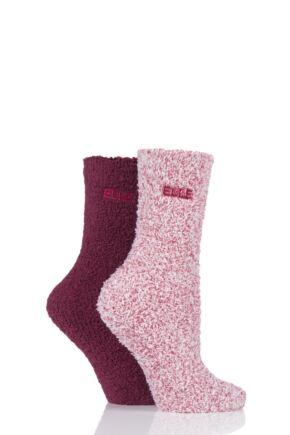 Ladies 2 Pair Elle Two Tone Soft and Cosy Bed Socks Dark Ruby 4-8 Ladies