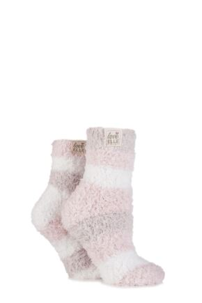 Ladies 2 Pair Elle Fluffy and Cosy Blissful Bed Time Socks Powder Pink 4-8