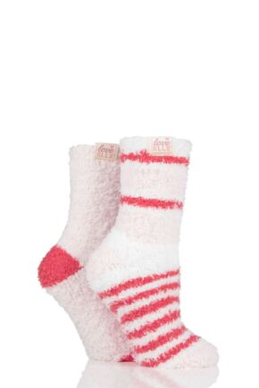 Ladies 2 Pair Elle Fluffy and Cosy Blissful Bed Time Socks Pearl Pink 4-8 Ladies