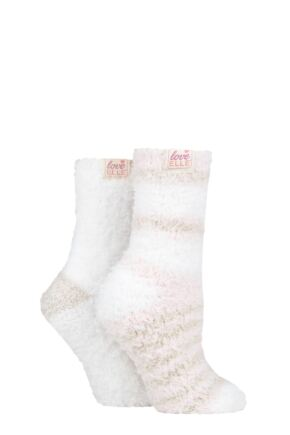 Ladies 2 Pair Elle Fluffy and Cosy Blissful Bed Time Socks Shetland 4-8 Ladies