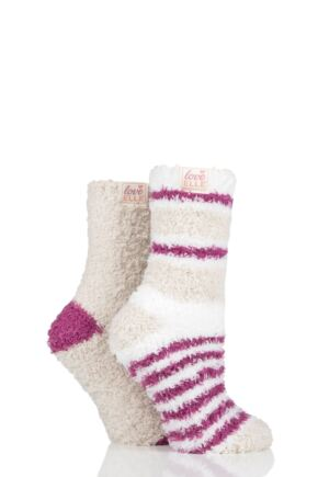 Ladies 2 Pair Elle Fluffy and Cosy Blissful Bed Time Socks Winter Berry 4-8 Ladies
