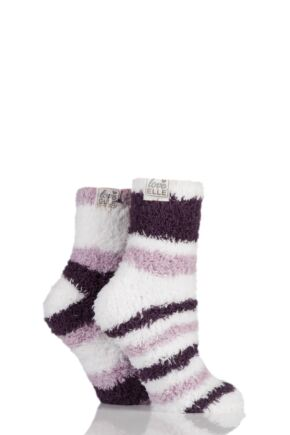 Ladies 2 Pair Elle Fluffy and Cosy Blissful Bed Time Socks Purple Raven 4-8 Ladies