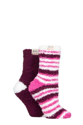 Ladies 2 Pair Elle Fluffy and Cosy Blissful Bed Time Socks Azalea 4-8 Ladies