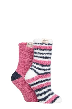 Ladies 2 Pair Elle Fluffy and Cosy Blissful Bed Time Socks Mauvewood 4-8 Ladies