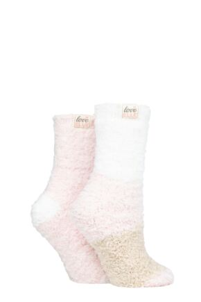 Ladies 2 Pair Elle Fluffy and Cosy Blissful Bed Time Socks Shetland Broad 4-8 Ladies