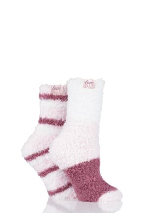 Ladies 2 Pair Elle Fluffy and Cosy Blissful Bed Time Socks Opal Pink 4-8 Ladies