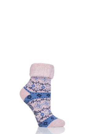 Ladies 1 Pair Elle Patterned Brushed Inside Slipper Socks