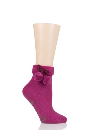 Ladies 1 Pair Elle Wool Mix Slipper Socks with Pompoms Winter Berry 4-8 Ladies