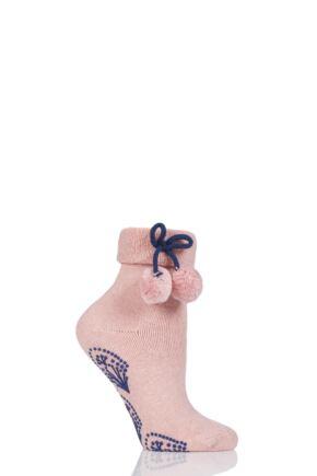Ladies 1 Pair Elle Wool Mix Slipper Socks with Pompoms Quartz Pink 4-8