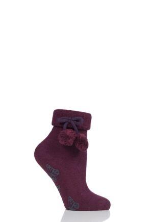 Ladies 1 Pair Elle Wool Mix Slipper Socks with Pompoms