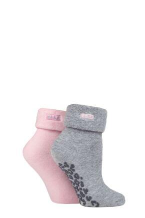 Ladies 2 Pair Elle Thermal Bed and Slipper Socks Light Grey 4-8 Ladies