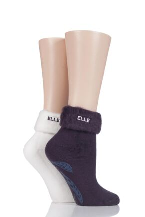 Ladies 2 Pair Elle Thermal Bed and Slipper Socks Purple Raven 4-8