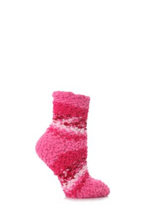 Ladies 1 Pair Elle Soft and Cosy Popcorn Leisure Socks Pink