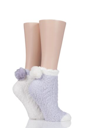 Ladies 2 Pair Elle Cable Cosy Anklet Socks with Pom Poms Mink 4-8