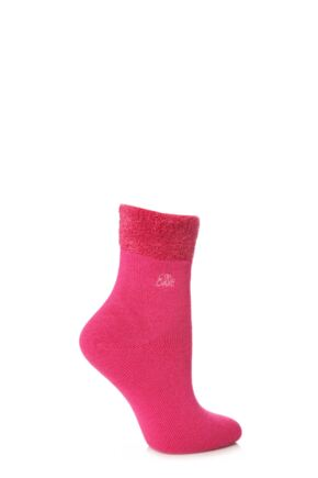 Ladies 1 Pair Elle Bamboo Feather Bed Socks Deep Pink